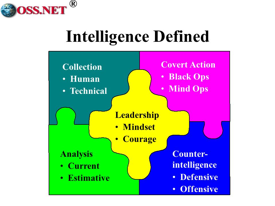 ® Intelligence Defined Collection Human Technical Analysis Current Estimative Covert Action Black Ops Mind Ops Counter- intelligence Defensive Offensi