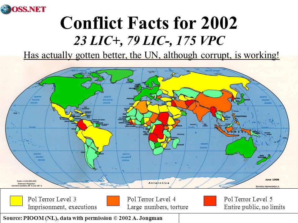 Source: PIOOM (NL), data with permission © 2002 A. Jongman Conflict Facts for 2002 23 LIC+, 79 LIC-, 175 VPC Pol Terror Level 3 Imprisonment, executio