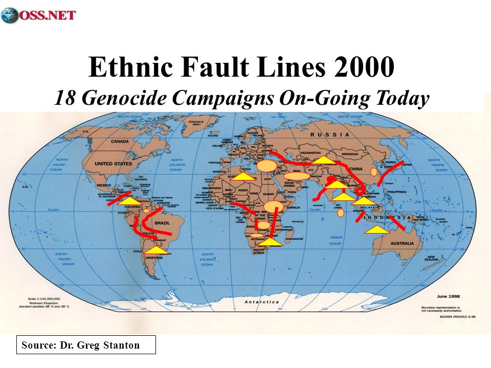 Ethnic Fault Lines 2000 18 Genocide Campaigns On-Going Today Source: Dr. Greg Stanton