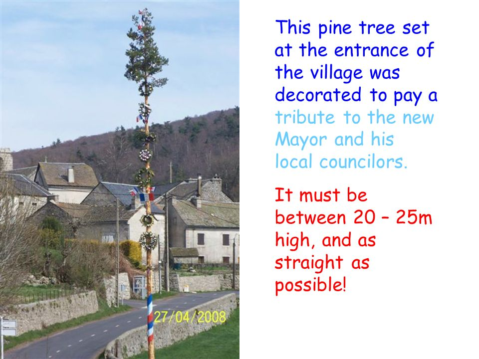 This pine tree set at the entrance of the village was decorated to pay a tribute to the new Mayor and his local councilors.