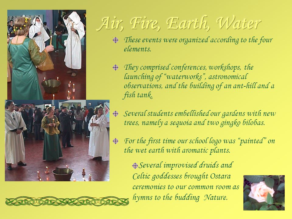 These events were organized according to the four elements.
