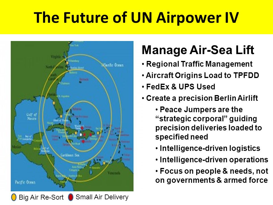 The Future of UN Airpower IV Big Air Re-Sort Small Air Delivery Manage Air-Sea Lift Regional Traffic Management Aircraft Origins Load to TPFDD FedEx & UPS Used Create a precision Berlin Airlift Peace Jumpers are the strategic corporal guiding precision deliveries loaded to specified need Intelligence-driven logistics Intelligence-driven operations Focus on people & needs, not on governments & armed force