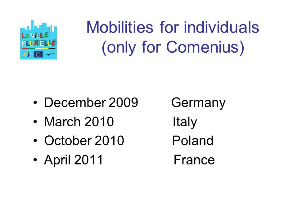 Mobilities for individuals (only for Comenius) December 2009 Germany March 2010 Italy October 2010 Poland April 2011 France