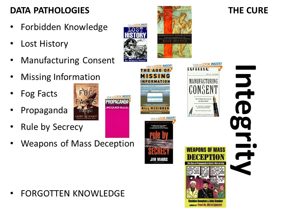 DATA PATHOLOGIES THE CURE Forbidden Knowledge Lost History Manufacturing Consent Missing Information Fog Facts Propaganda Rule by Secrecy Weapons of Mass Deception FORGOTTEN KNOWLEDGE Integrity