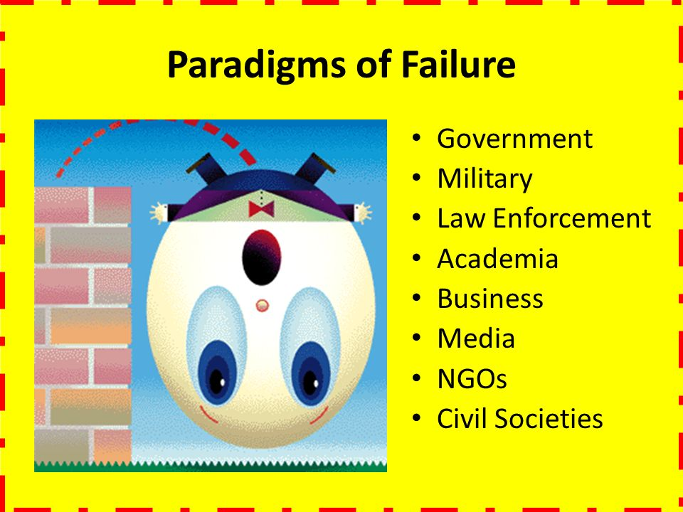 Paradigms of Failure Government Military Law Enforcement Academia Business Media NGOs Civil Societies