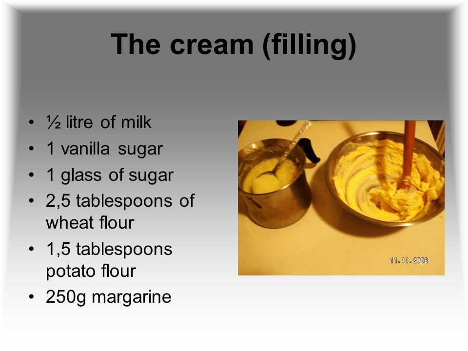 The cream (filling) ½ litre of milk 1 vanilla sugar 1 glass of sugar 2,5 tablespoons of wheat flour 1,5 tablespoons potato flour 250g margarine