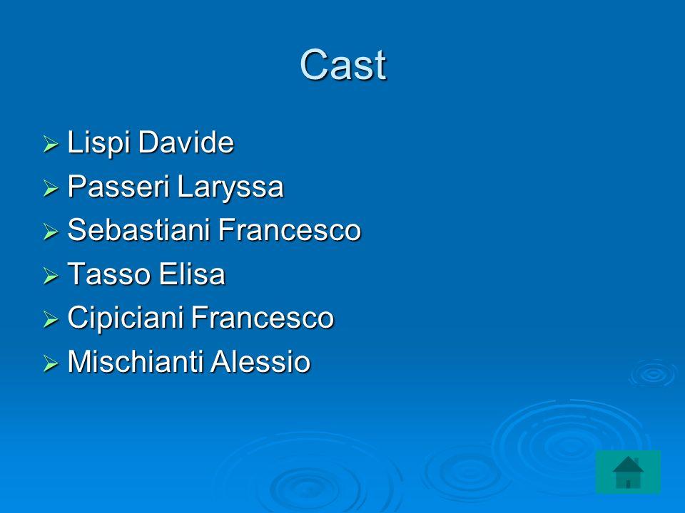 Cast Lispi Davide Lispi Davide Passeri Laryssa Passeri Laryssa Sebastiani Francesco Sebastiani Francesco Tasso Elisa Tasso Elisa Cipiciani Francesco C