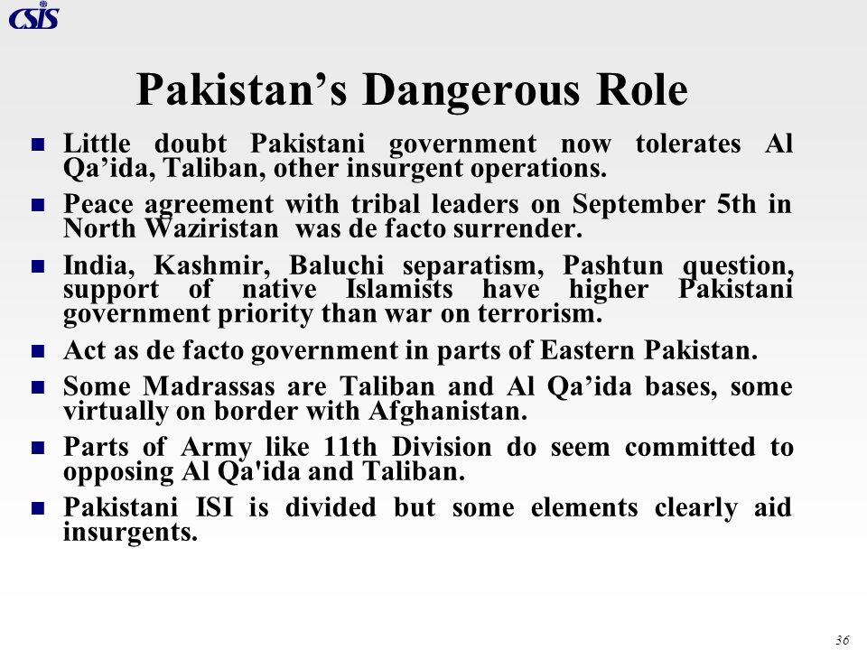 36 Pakistans Dangerous Role Little doubt Pakistani government now tolerates Al Qaida, Taliban, other insurgent operations. Peace agreement with tribal