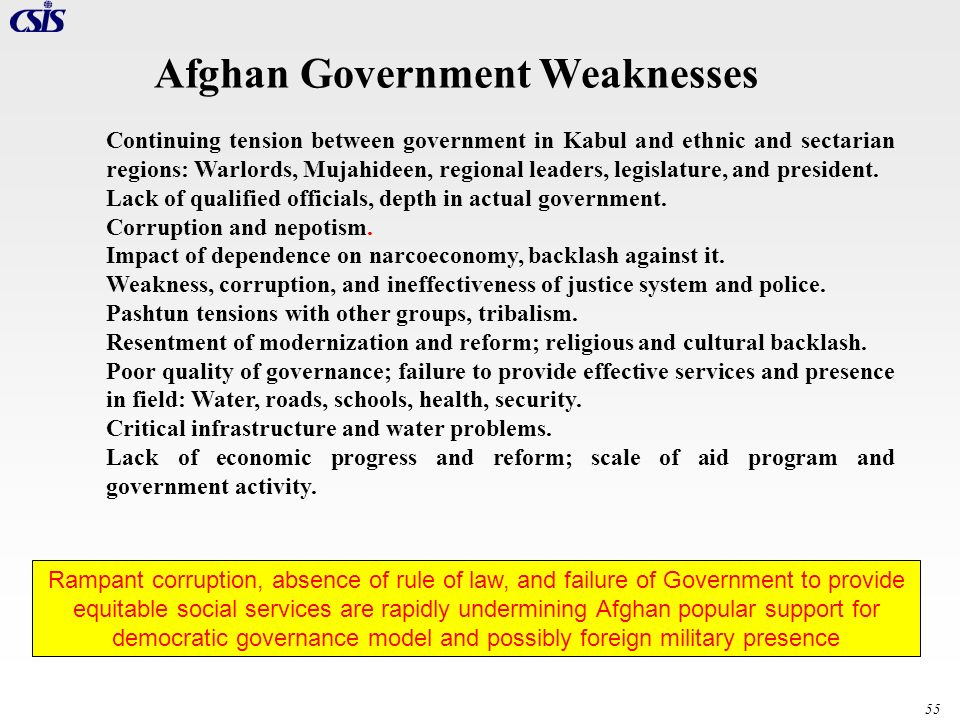 55 Afghan Government Weaknesses Continuing tension between government in Kabul and ethnic and sectarian regions: Warlords, Mujahideen, regional leader