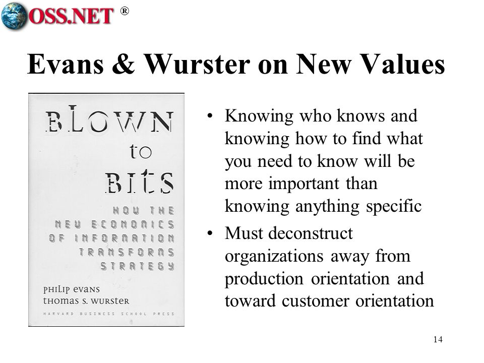 ® 14 Evans & Wurster on New Values Knowing who knows and knowing how to find what you need to know will be more important than knowing anything specific Must deconstruct organizations away from production orientation and toward customer orientation