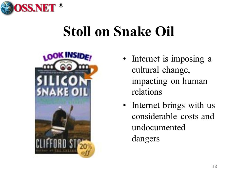 ® 18 Stoll on Snake Oil Internet is imposing a cultural change, impacting on human relations Internet brings with us considerable costs and undocumented dangers