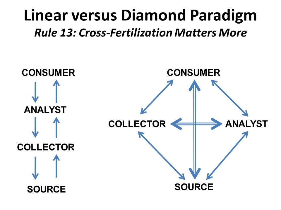 Linear versus Diamond Paradigm Rule 13: Cross-Fertilization Matters More CONSUMER ANALYST COLLECTOR SOURCE