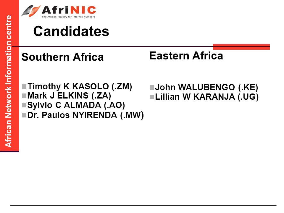 African Network Information centre Candidates Southern Africa Timothy K KASOLO (.ZM) Mark J ELKINS (.ZA) Sylvio C ALMADA (.AO) Dr.