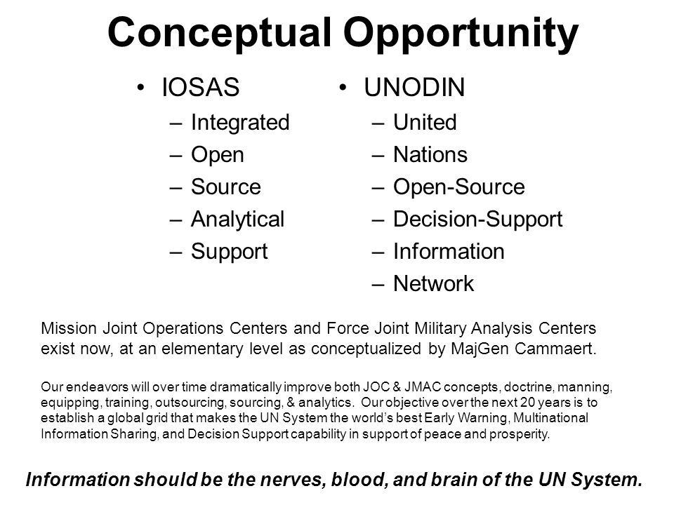 Conceptual Opportunity IOSAS –Integrated –Open –Source –Analytical –Support UNODIN –United –Nations –Open-Source –Decision-Support –Information –Network Information should be the nerves, blood, and brain of the UN System.
