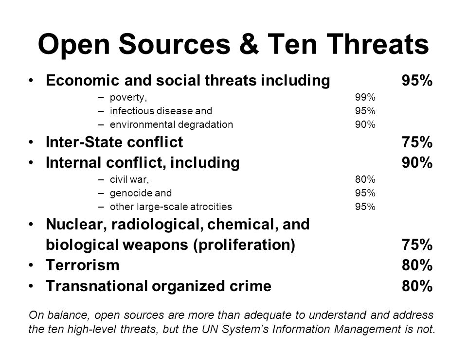 Open Sources & Ten Threats Economic and social threats including 95% –poverty,99% –infectious disease and 95% –environmental degradation90% Inter-State conflict75% Internal conflict, including 90% –civil war, 80% –genocide and 95% –other large-scale atrocities95% Nuclear, radiological, chemical, and biological weapons (proliferation)75% Terrorism80% Transnational organized crime80% On balance, open sources are more than adequate to understand and address the ten high-level threats, but the UN Systems Information Management is not.