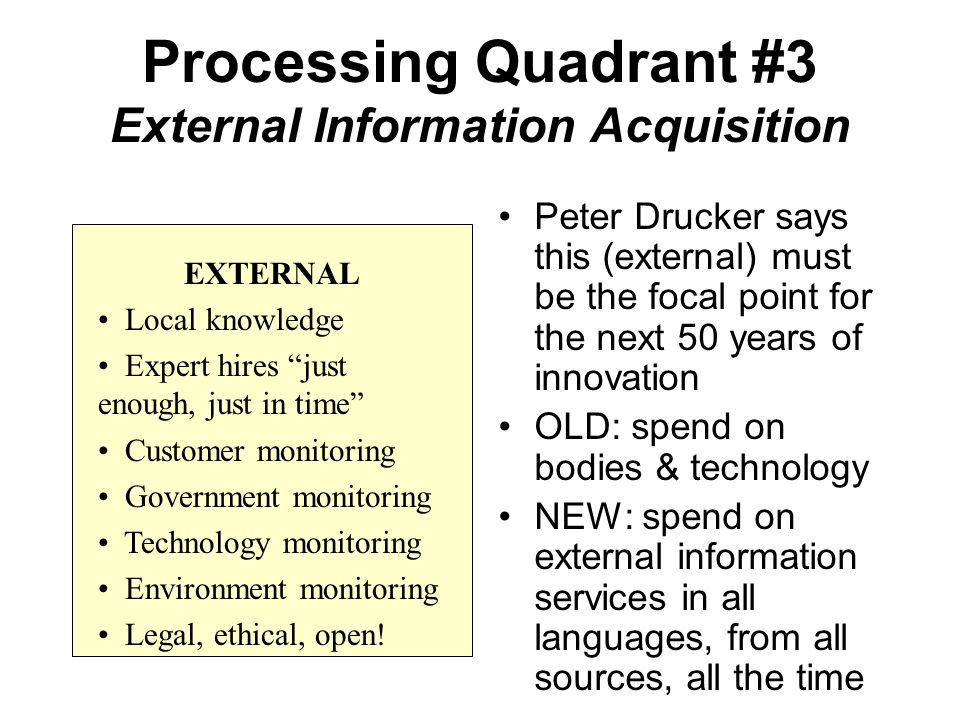 Processing Quadrant #3 External Information Acquisition Peter Drucker says this (external) must be the focal point for the next 50 years of innovation OLD: spend on bodies & technology NEW: spend on external information services in all languages, from all sources, all the time EXTERNAL Local knowledge Expert hires just enough, just in time Customer monitoring Government monitoring Technology monitoring Environment monitoring Legal, ethical, open!