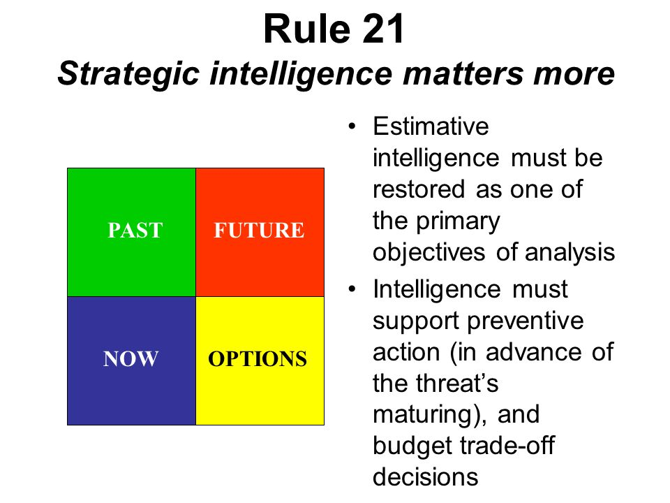 Rule 21 Strategic intelligence matters more Estimative intelligence must be restored as one of the primary objectives of analysis Intelligence must support preventive action (in advance of the threats maturing), and budget trade-off decisions FUTUREPAST NOWOPTIONS