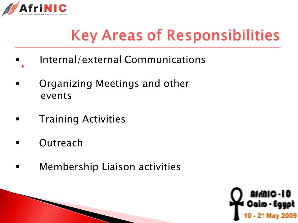 Key Areas of Responsibilities Internal/external Communications Organizing Meetings and other events Training Activities Outreach Membership Liaison ac