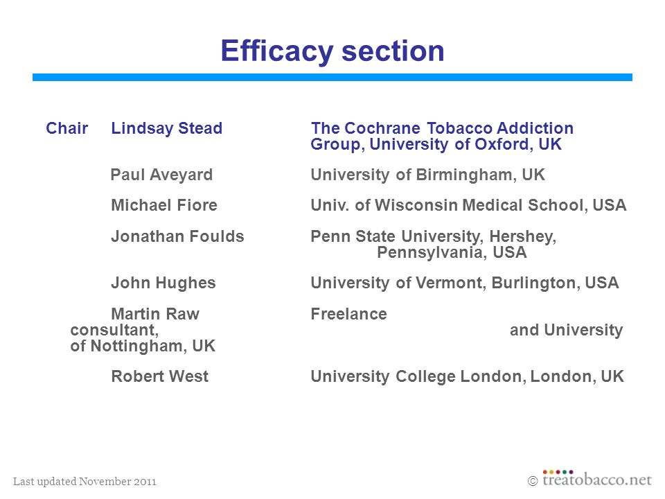 Last updated November 2011 Efficacy of treatment The purpose of the efficacy database is to provide information on effective treatments for tobacco dependence.