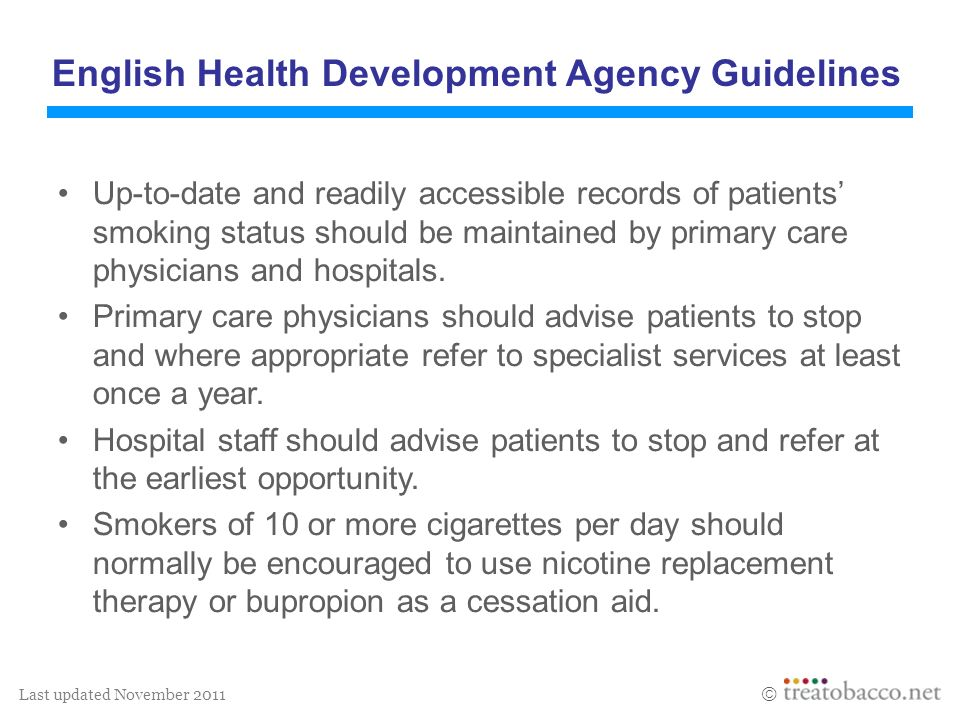 Last updated November 2011 English Health Development Agency Guidelines Up-to-date and readily accessible records of patients smoking status should be maintained by primary care physicians and hospitals.