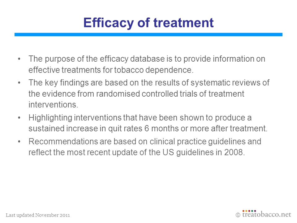 Last updated November 2011 Efficacy of treatment The purpose of the efficacy database is to provide information on effective treatments for tobacco de