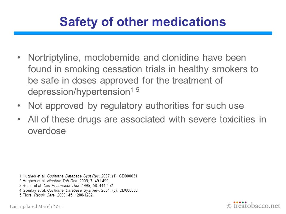 Last updated March 2011 1 Hughes et al. Cochrane Database Syst Rev. 2007; (1): CD000031. 2 Hughes et al. Nicotine Tob Res. 2005; 7: 491-499. 3 Berlin