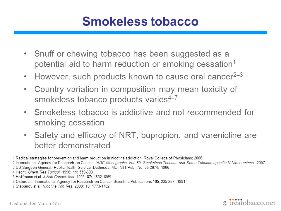 Last updated March 2011 Smokeless tobacco Snuff or chewing tobacco has been suggested as a potential aid to harm reduction or smoking cessation 1 Howe