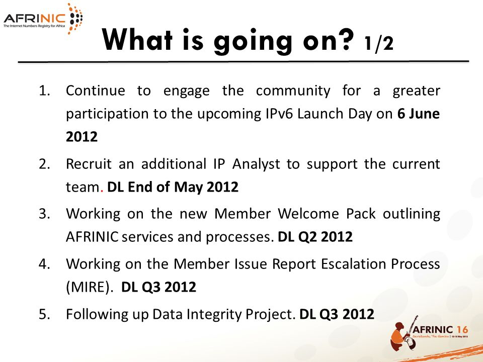 What is going on.2/2 6.Implement AFRINIC CRM for its members.