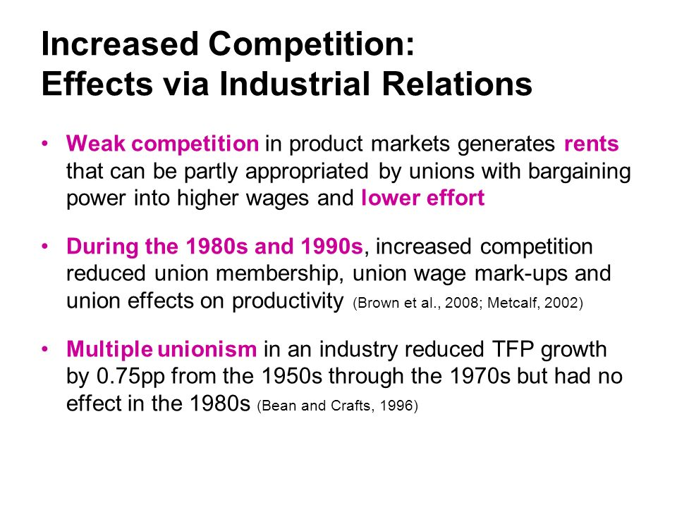 Increased Competition: Effects via Industrial Relations Weak competition in product markets generates rents that can be partly appropriated by unions with bargaining power into higher wages and lower effort During the 1980s and 1990s, increased competition reduced union membership, union wage mark-ups and union effects on productivity (Brown et al., 2008; Metcalf, 2002) Multiple unionism in an industry reduced TFP growth by 0.75pp from the 1950s through the 1970s but had no effect in the 1980s (Bean and Crafts, 1996)