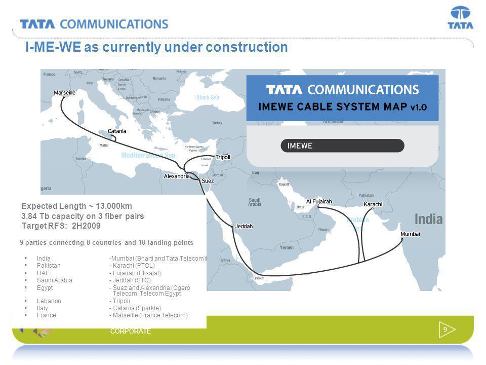 8 CORPORATE Circling the world on Tata Communication owned Submarine Cable Frankfurt Hong Kong Mumbai San Francisco New York Tokyo London Trans-Pacifi