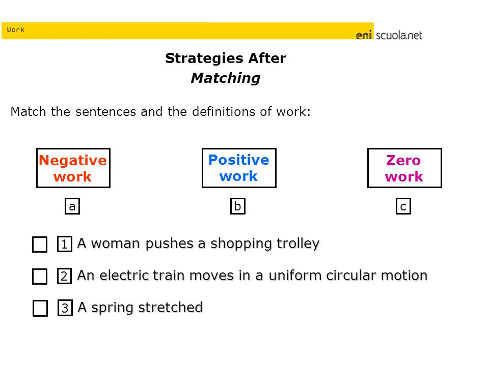 Work Strategies After Matching Match the sentences and the definitions of work: 1 A woman pushes a shopping trolley 2 An electric train moves in a uni