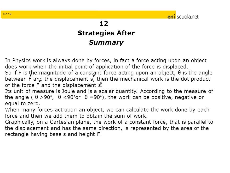 Work Strategies After Summary In Physics work is always done by forces, in fact a force acting upon an object does work when the initial point of application of the force is displaced.