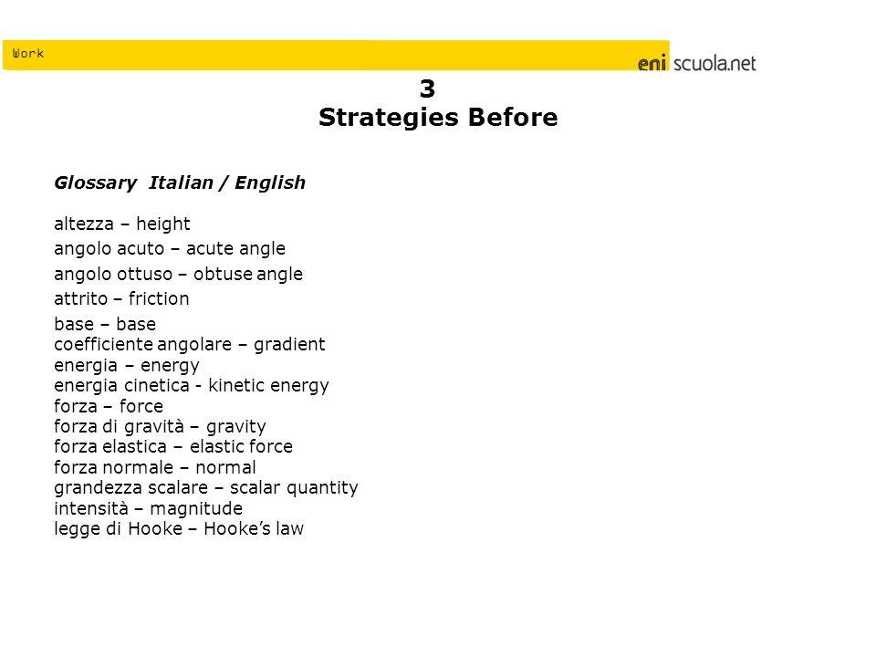 Work Strategies Before Glossary Italian / English altezza – height angolo acuto – acute angle angolo ottuso – obtuse angle attrito – friction base – b