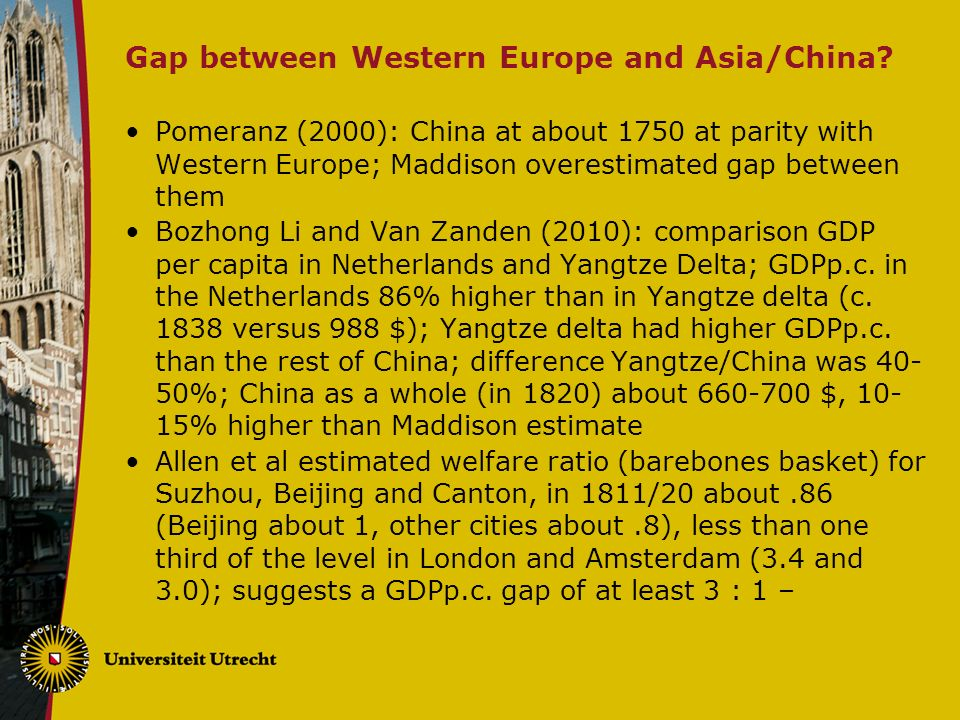 Gap between Western Europe and Asia/China.