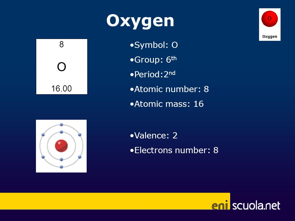 Oxygen 8 O 16.00 Symbol: O Group: 6 th Period:2 nd Atomic number: 8 Atomic mass: 16 Valence: 2 Electrons number: 8