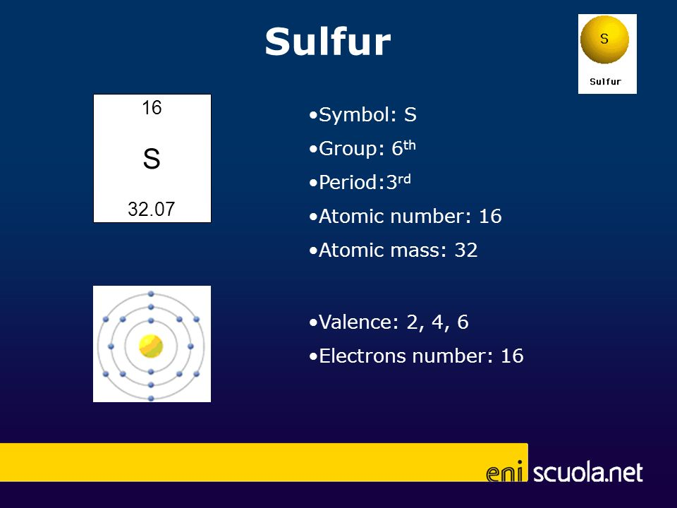 Sulfur 16 S 32.07 Symbol: S Group: 6 th Period:3 rd Atomic number: 16 Atomic mass: 32 Valence: 2, 4, 6 Electrons number: 16