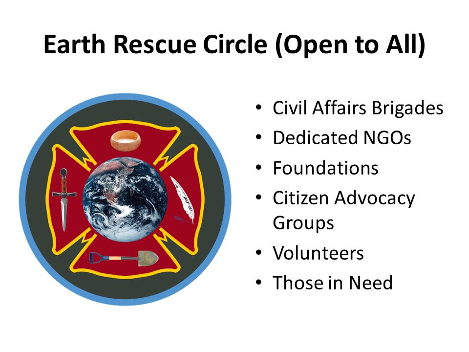 Earth Rescue Circle (Open to All) Civil Affairs Brigades Dedicated NGOs Foundations Citizen Advocacy Groups Volunteers Those in Need