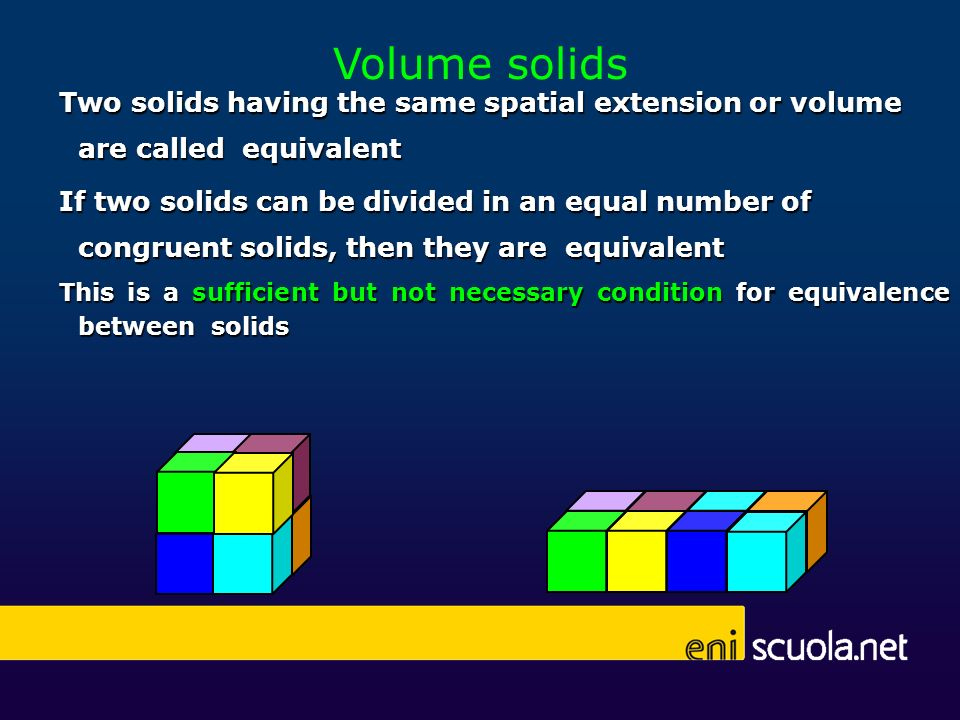 Volume solids Two solids having the same spatial extension or volume are called equivalent If two solids can be divided in an equal number of congruen