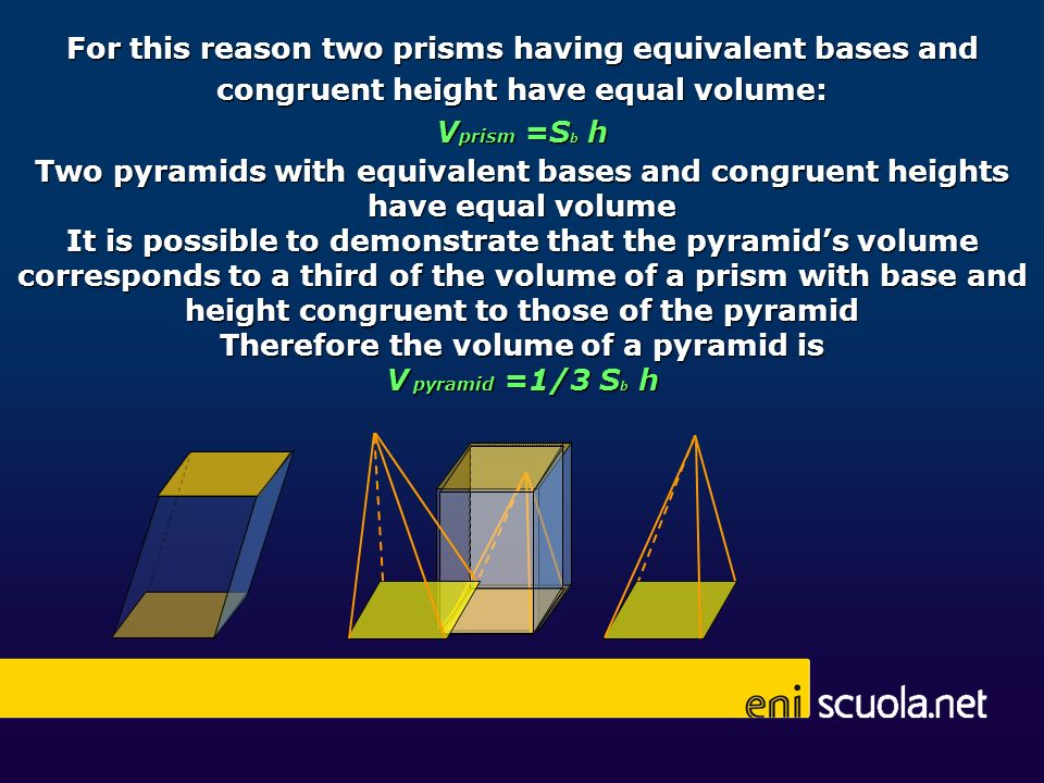 For this reason two prisms having equivalent bases and congruent height have equal volume: V prism =S b h Two pyramids with equivalent bases and congr
