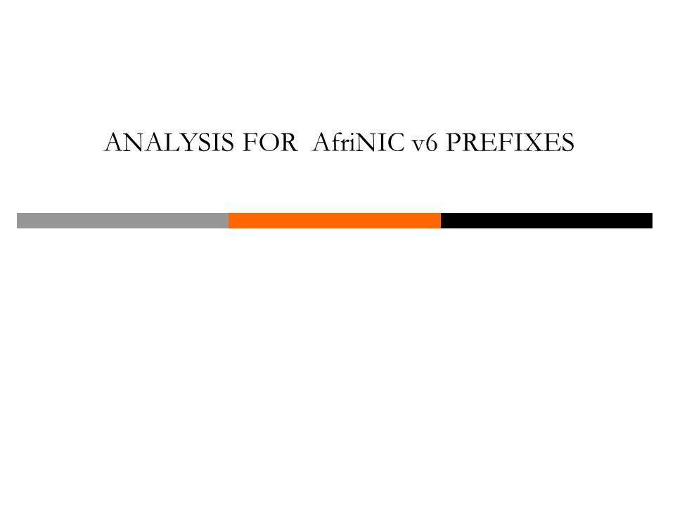 ANALYSIS FOR AfriNIC v6 PREFIXES