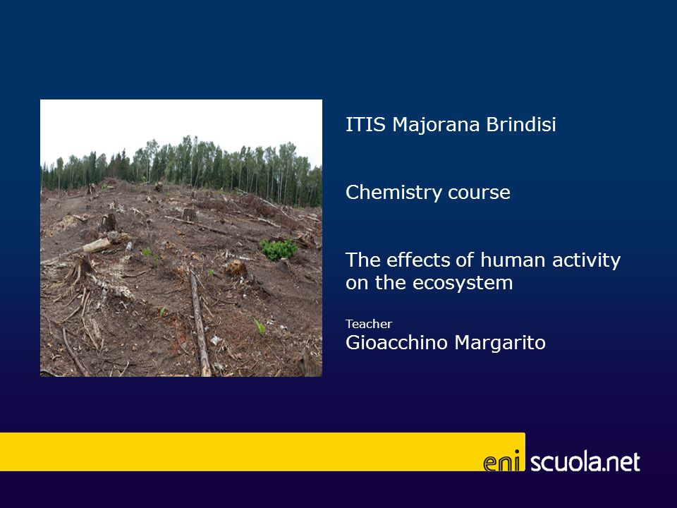 ITIS Majorana Brindisi Chemistry course The effects of human activity on the ecosystem Teacher Gioacchino Margarito