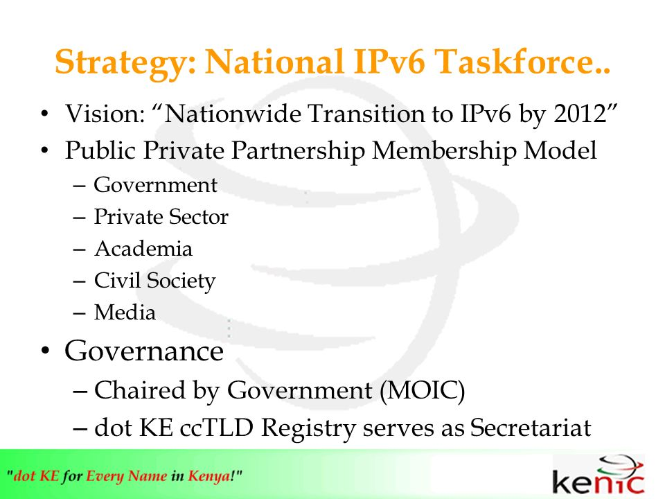 Strategy: National IPv6 Taskforce..