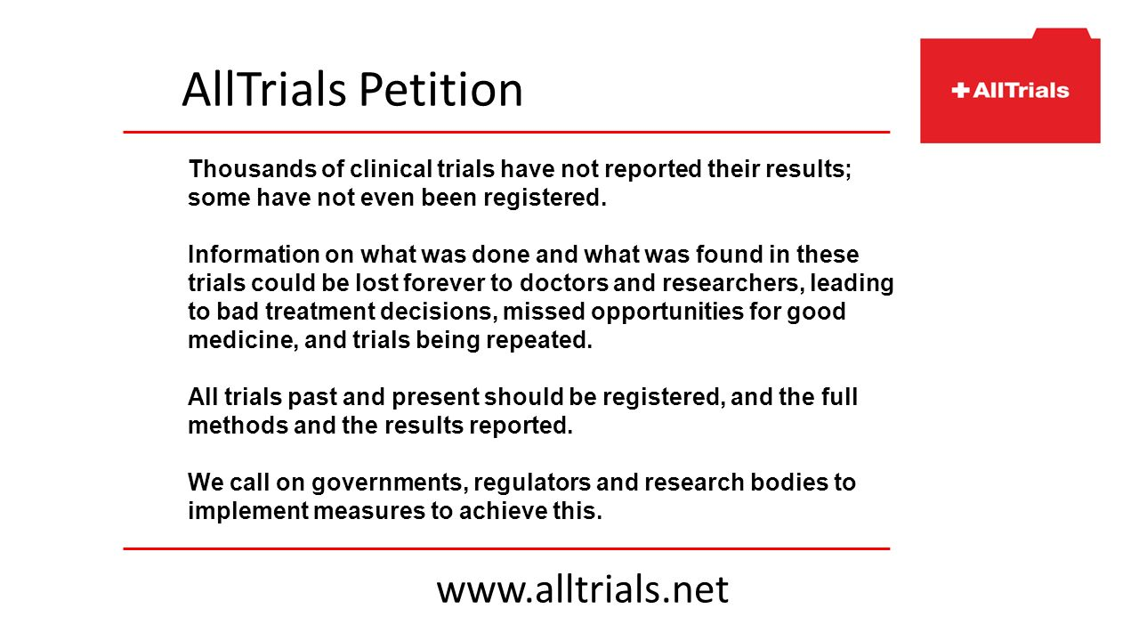 Thousands of clinical trials have not reported their results; some have not even been registered. Information on what was done and what was found in t