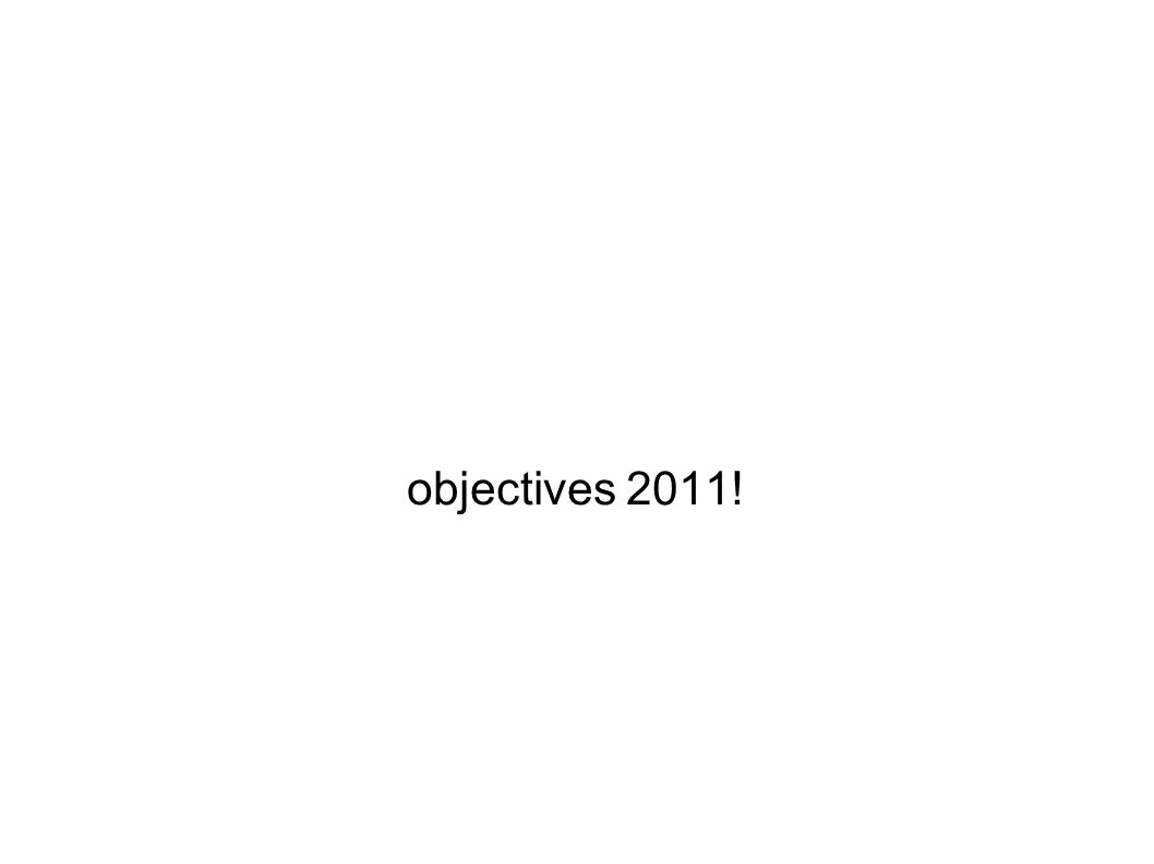 objectives 2011!