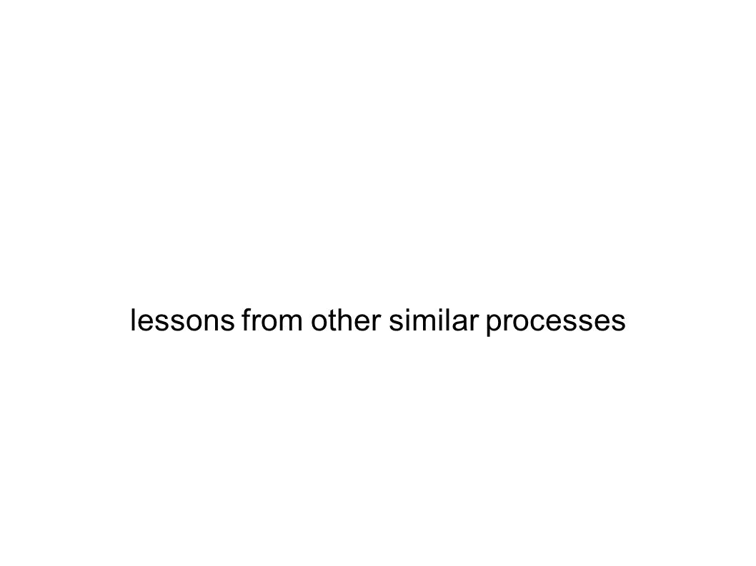 lessons from other similar processes