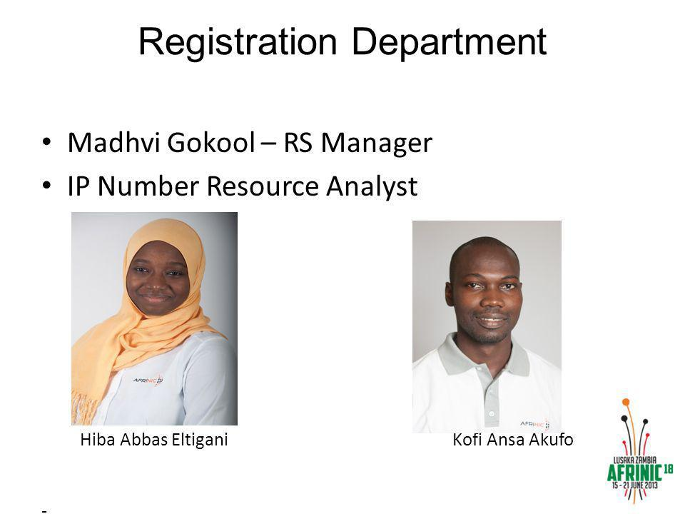 Registration Department Madhvi Gokool – RS Manager IP Number Resource Analyst Hiba Abbas Eltigani Kofi Ansa Akufo -