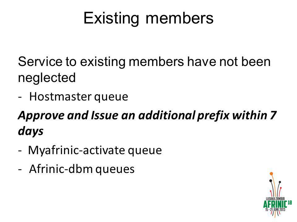 Existing members Service to existing members have not been neglected -Hostmaster queue Approve and Issue an additional prefix within 7 days - Myafrinic-activate queue -Afrinic-dbm queues