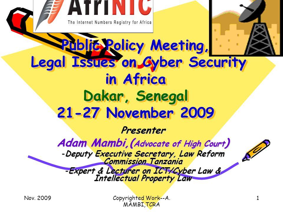 Nov. 2009Copyrighted Work--A.