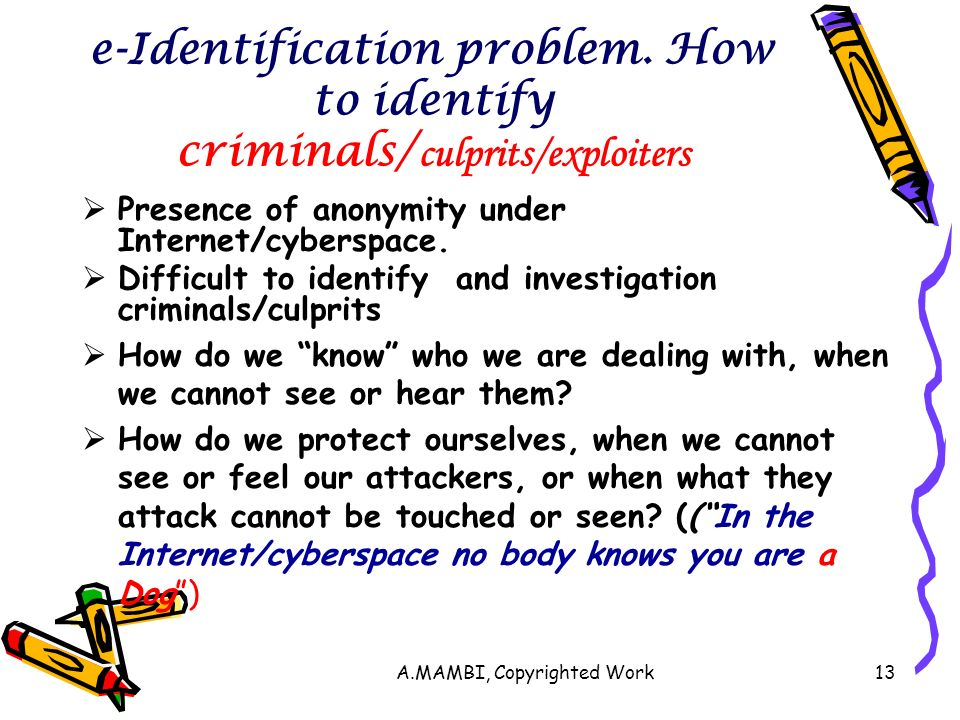 A.MAMBI, Copyrighted Work13 e-Identification problem.