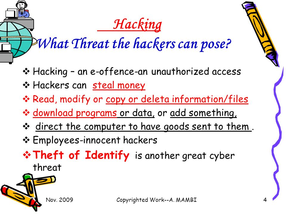 Nov. 2009Copyrighted Work--A. MAMBI4 Hacking What Threat the hackers can pose.